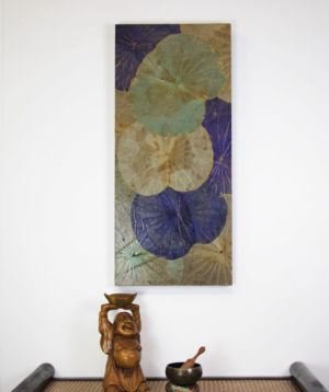 90 x 40 Lotus Leaf Art Summer Bloom
