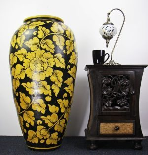 92cm Hand Painted Pottery Black With Gold Leaf Design