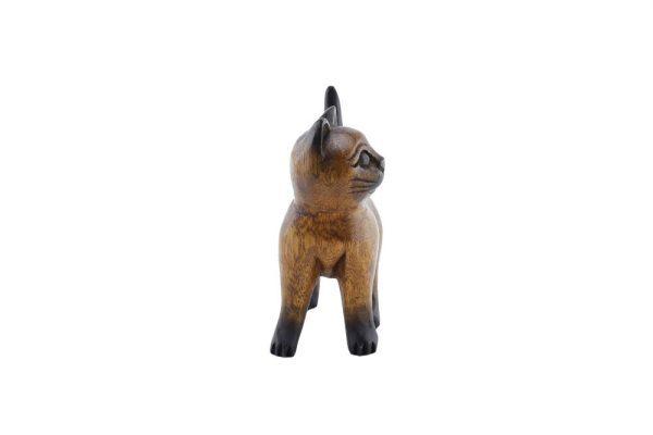 Carved Wooden 15cm Strutting Cat