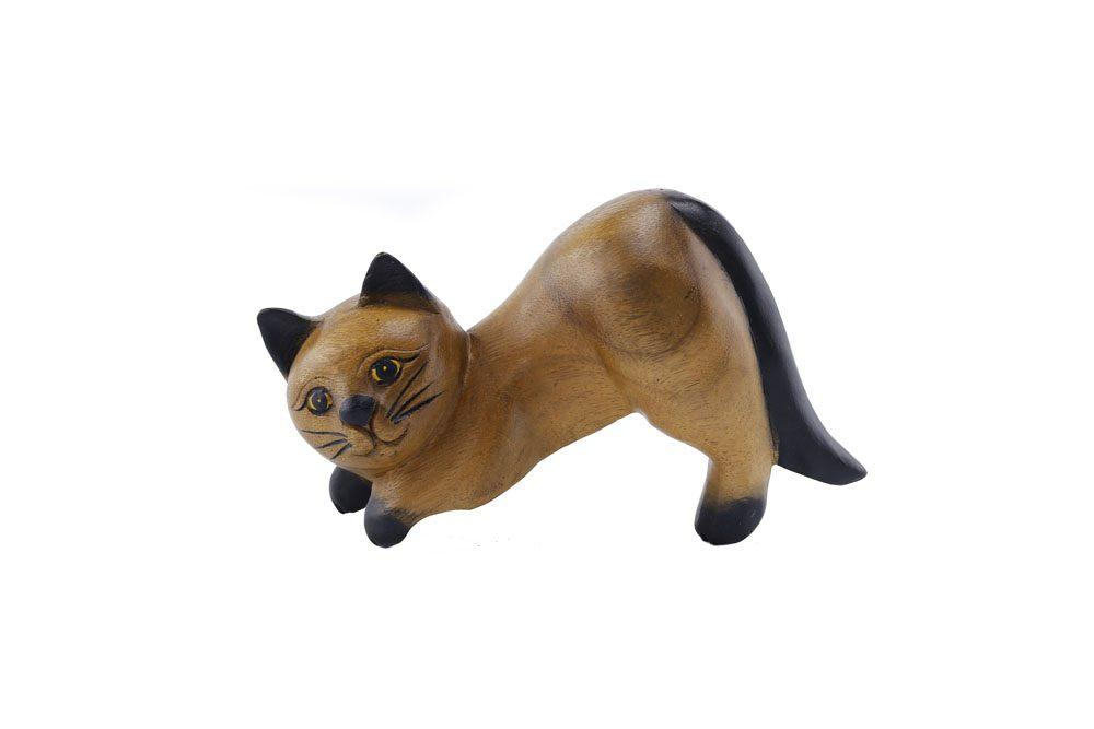 Carved Wooden 20cm Hanging Cat