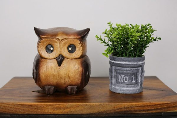 Carved Wooden Fat Owl