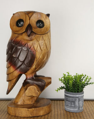 Carved Wooden Large Owl