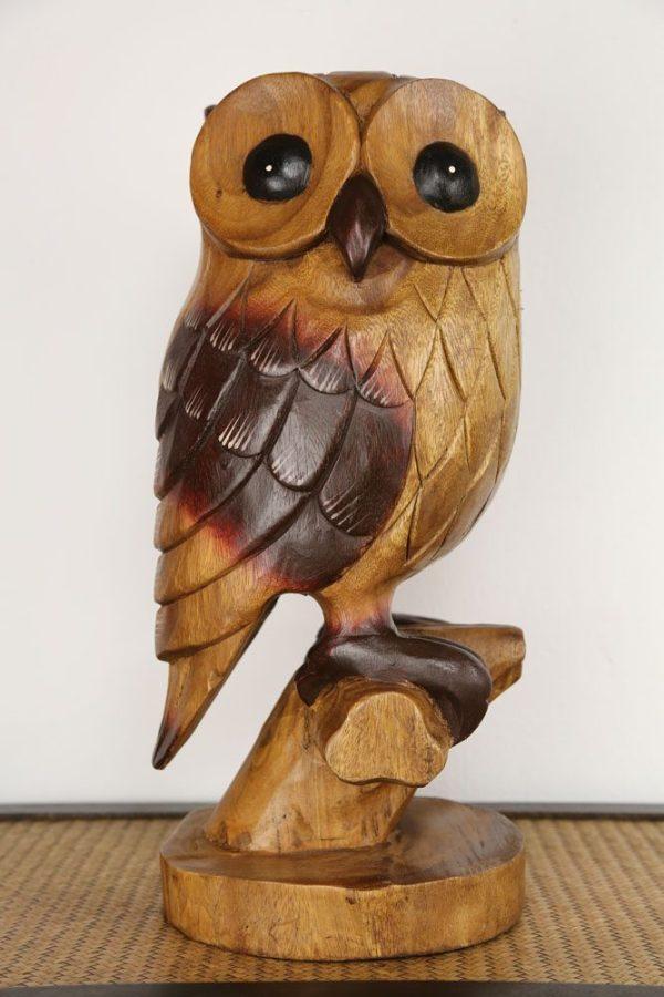 Carved Wooden Large Owl