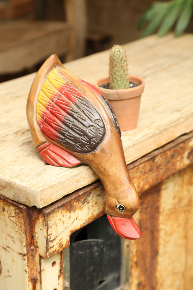 Carved Wooden Mid Size Duck Drinking