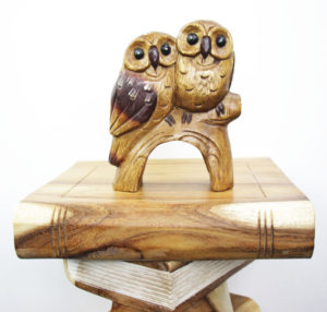 Carved Wooden Pair Of Owls