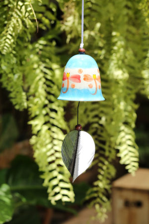 Ceramic Bell Blue Dragonfly