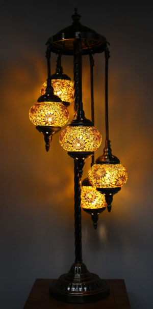 Floor Lamp 5 globe Yellow Gold