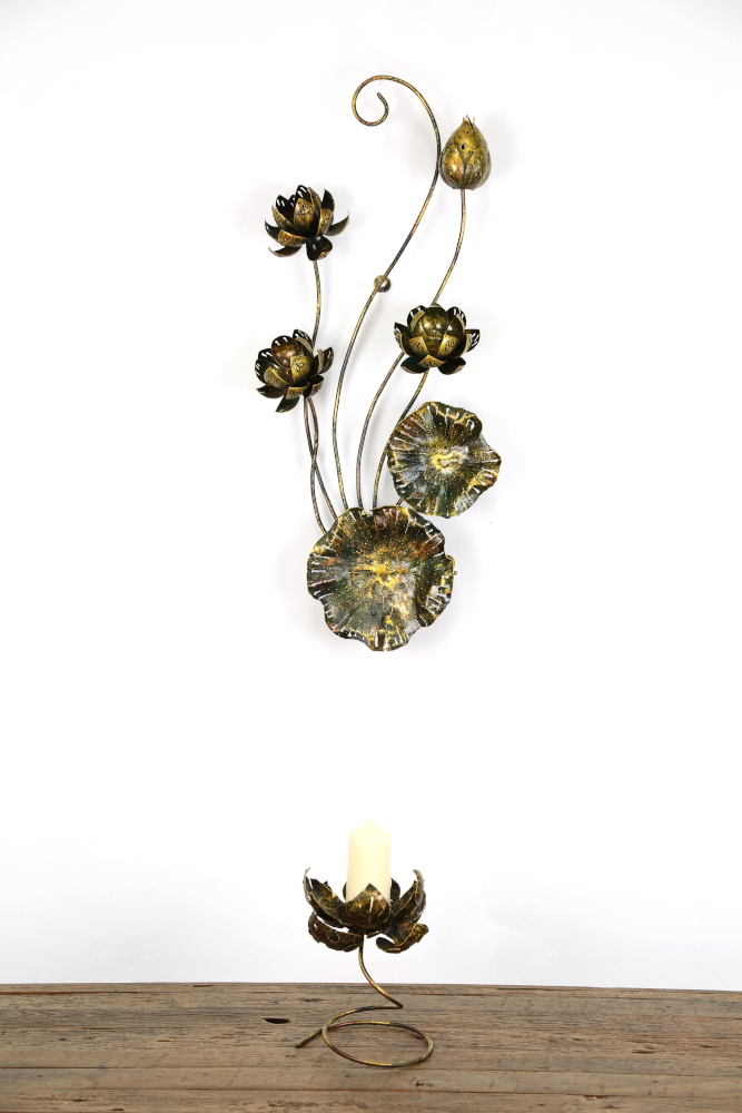 Golden Lotus Floral Wall Art - Nirvana
