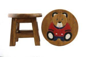 Kids Wooden Stool Teddy Bear