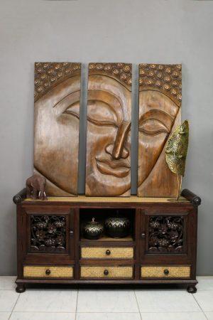 Large 3 Piece Wooden Buddha