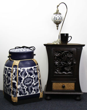 Large 53cm Rice Basket Royal Blue Finish With White Background