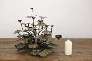 Large Metal Lotus Plant Candle Holder