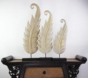 Leaf Set Of Three Antique White