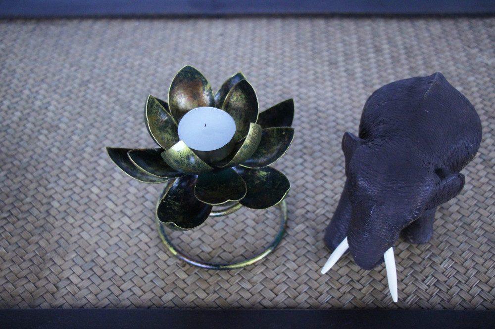 Metal Spiral Lotus Flower Candle Holder Antique Black Nirvana