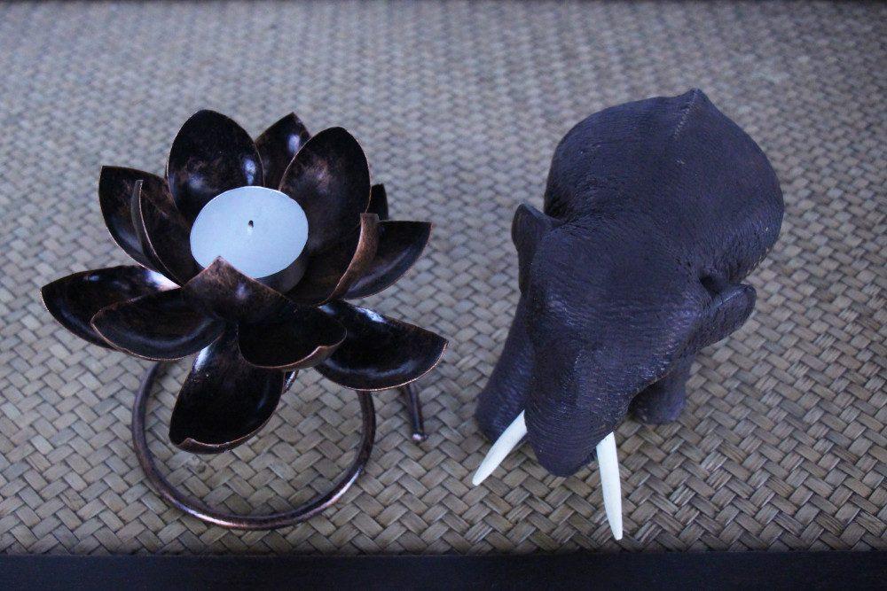 Metal Spiral Lotus Flower Candle Holder Antique Copper Nirvana