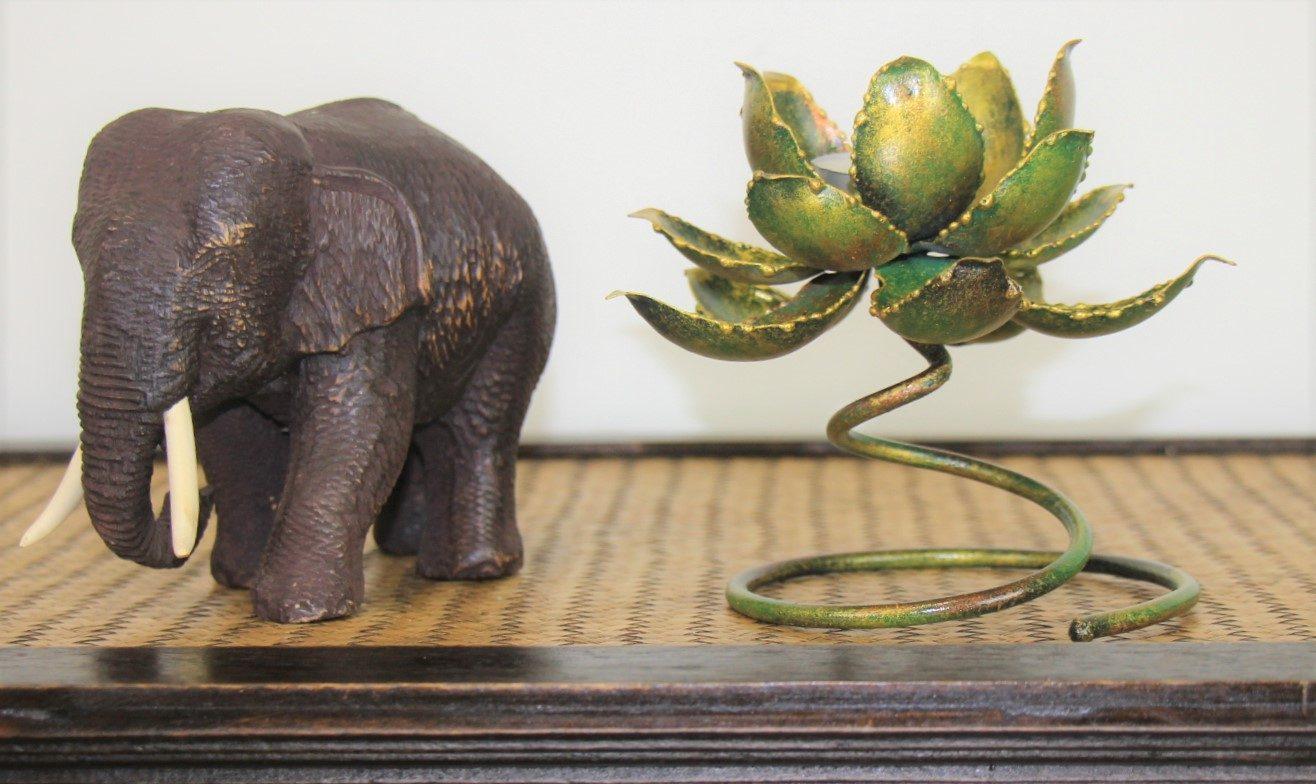 Metal Spiral Lotus Flower Candle Holder Antique Green Nirvana