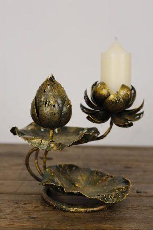 Metal Lotus Leaf Flower Candle Holder