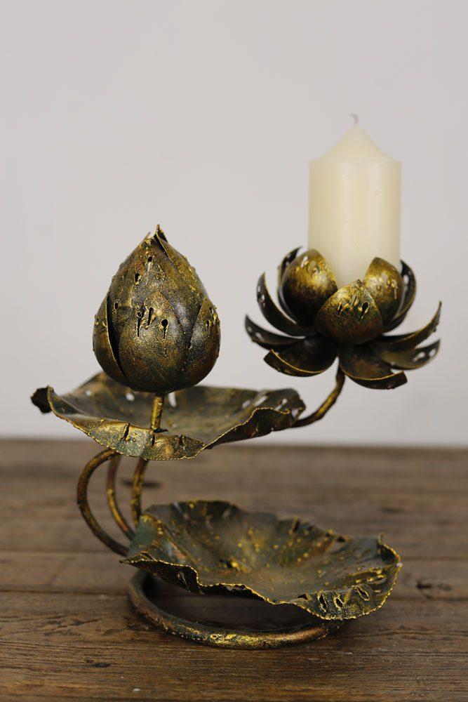 Metal Lotus Leaf Flower Candle Holder Nirvana