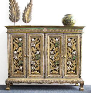 Ornate Cabinet With 4 Cupboards