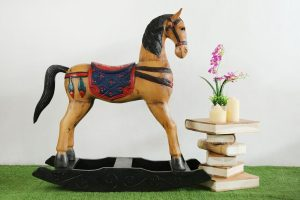 Ornate Large Solid Wood Rocking Horse Coloured