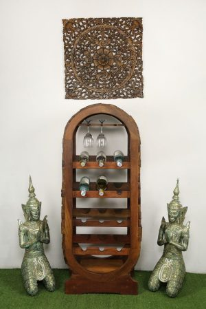 Recycled Teak 12 Bottle Wine Stand
