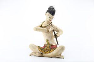 Set Of 4 Thai Musicians 38cm Antique White/Orange