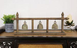 Teak 3 Brass Bell