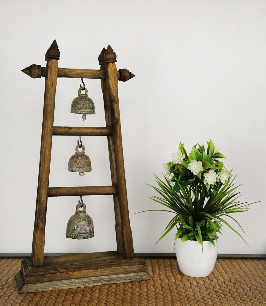 Teak 3 Brass Bell Tree