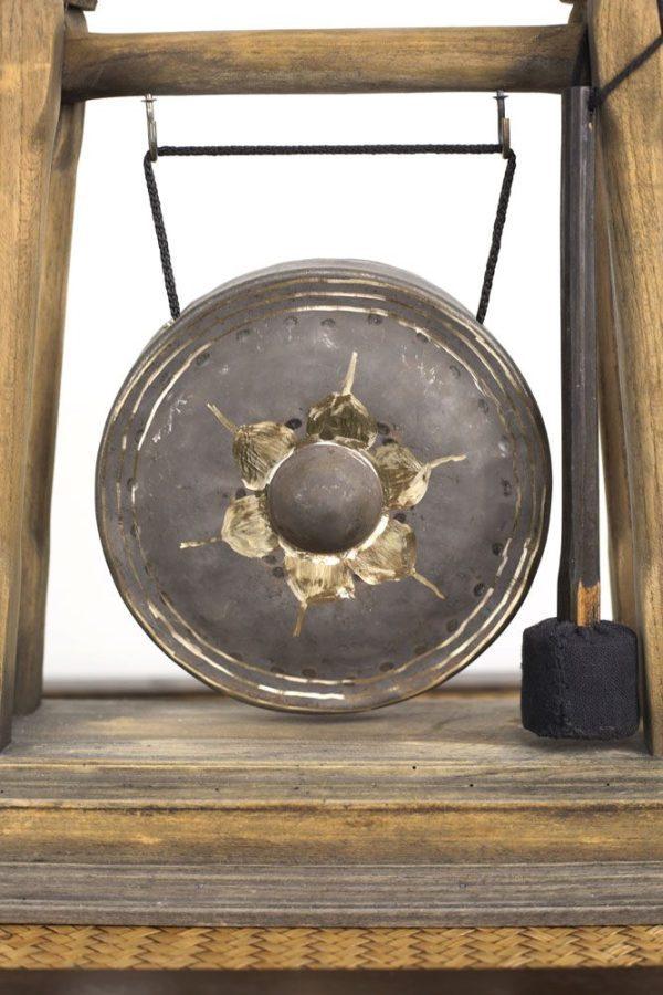 Teak Large Brass Gong
