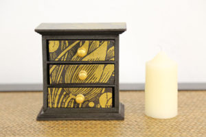 Trinket Box 3 Drawer Gold 1