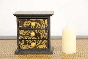 Trinket Box 3 Drawer Gold 2