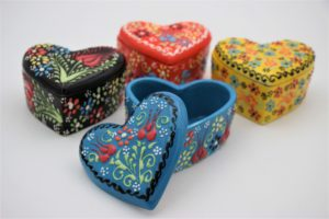 Hand Crafted Turkish Ceramic Heart Jewelry Boxes