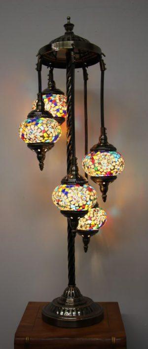 Turkish Mosaic Floor Lamp 5 globe Mosaic Moon Orbit