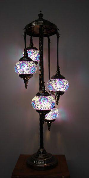 Turkish Mosaic Floor Lamp 5 globe Purple Blue