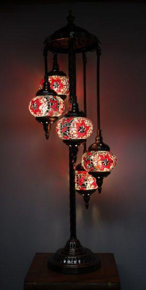 Turkish Mosaic Floor Lamp 5 globe Red