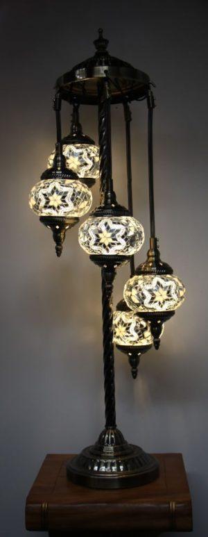 Turkish Mosaic Floor Lamp 5 globe White