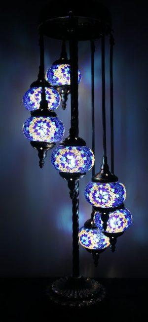 Turkish Mosaic Floor Lamp 7 globe Blue