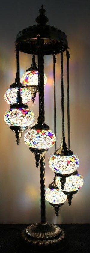 Turkish Mosaic Floor Lamp 7 globe Mosaic Flower Burst