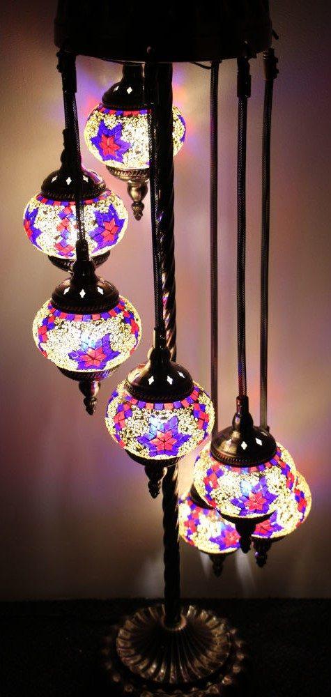 Turkish Mosaic Floor Lamp 7 globe Mosaic Starry Night