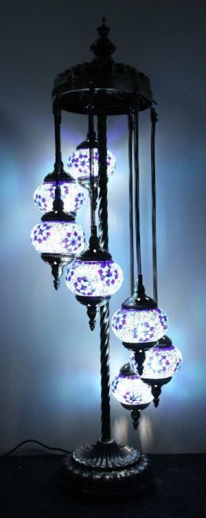 Turkish Mosaic Floor Lamp 7 globe Purple Blue