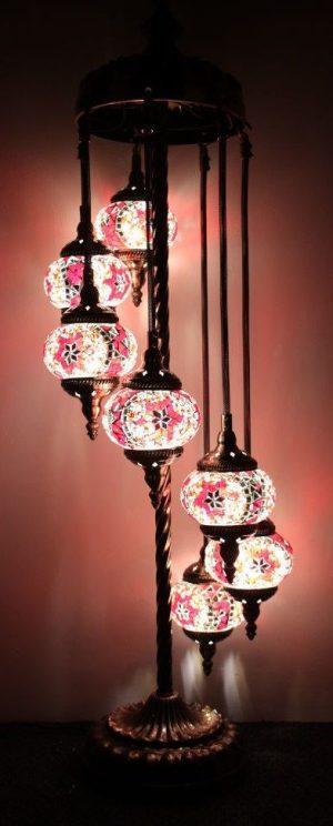 Turkish Mosaic Floor Lamp 7 globe Red