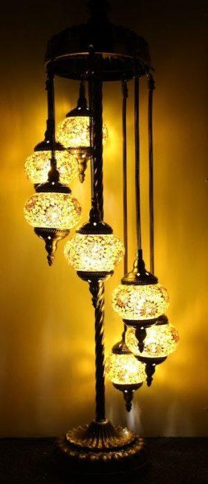 Turkish Mosaic Floor Lamp 7 globe Yellow Gold
