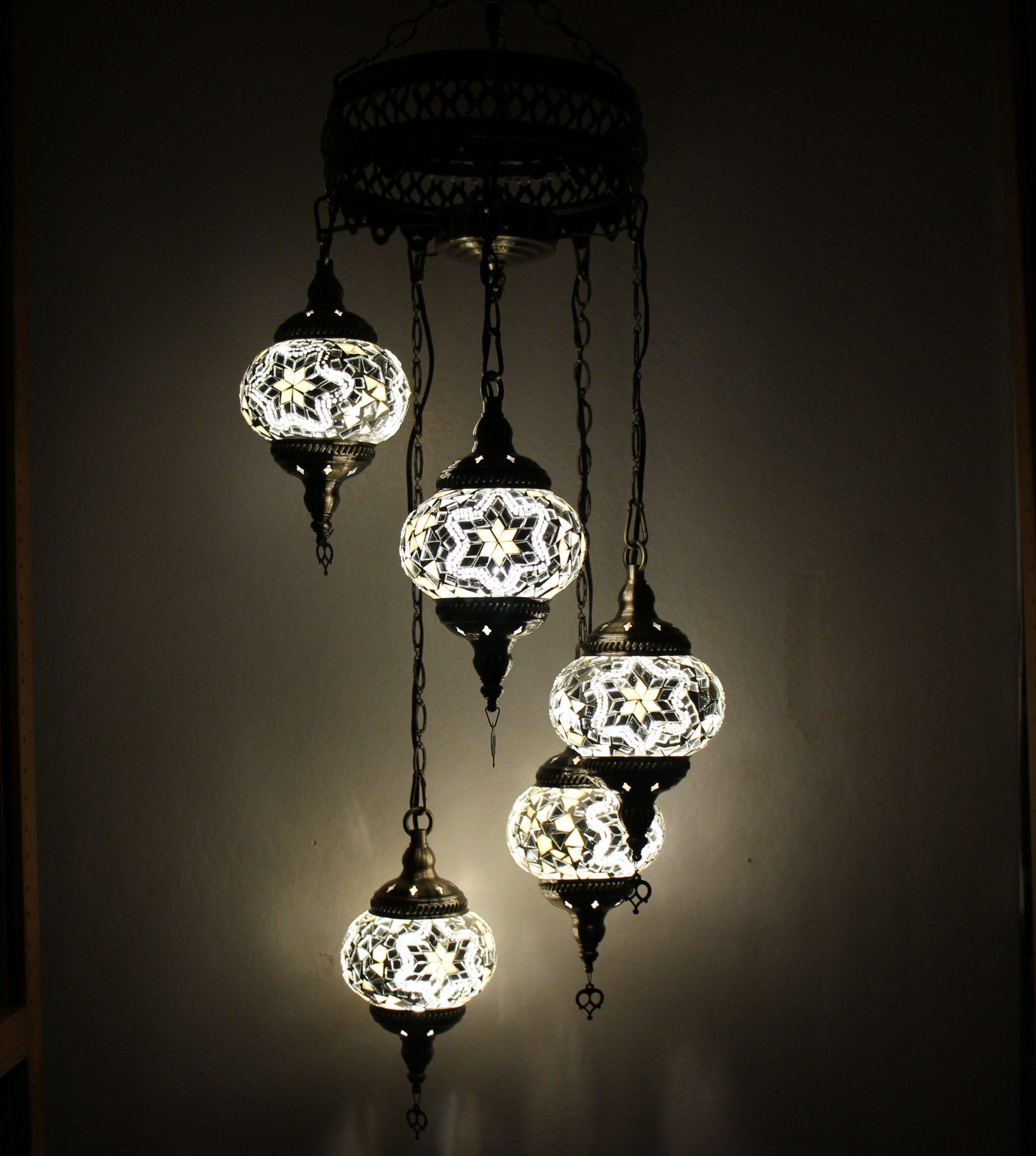 Turkish mosaic hanging lamp 5 globe white