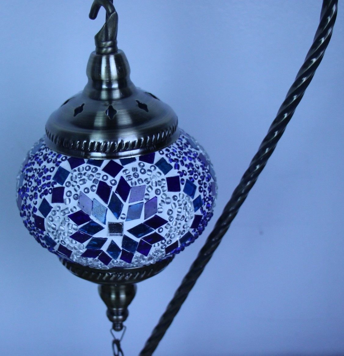Turkish Mosaic Large Swan Lamp Blue 46cm Nirvana