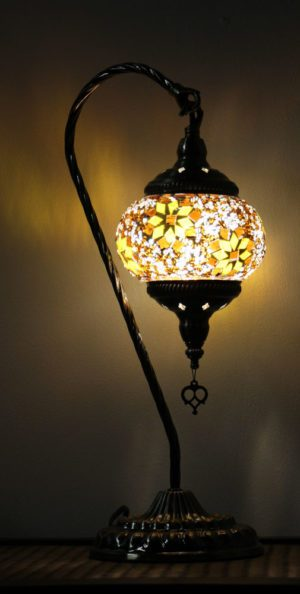 Turkish Mosaic Swan Table Lamp Brown