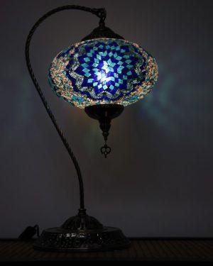 Turkish Mosaic Swan Table Lamp Large Blue