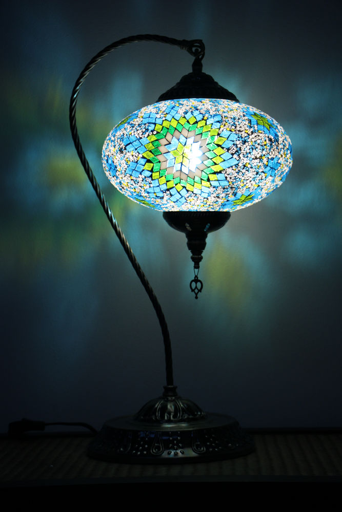 Turkish Mosaic Swan Table Lamp Large Green Blue