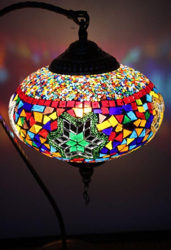 Turkish Mosaic Swan Table Lamp Large Mosaic Twinkling Stars