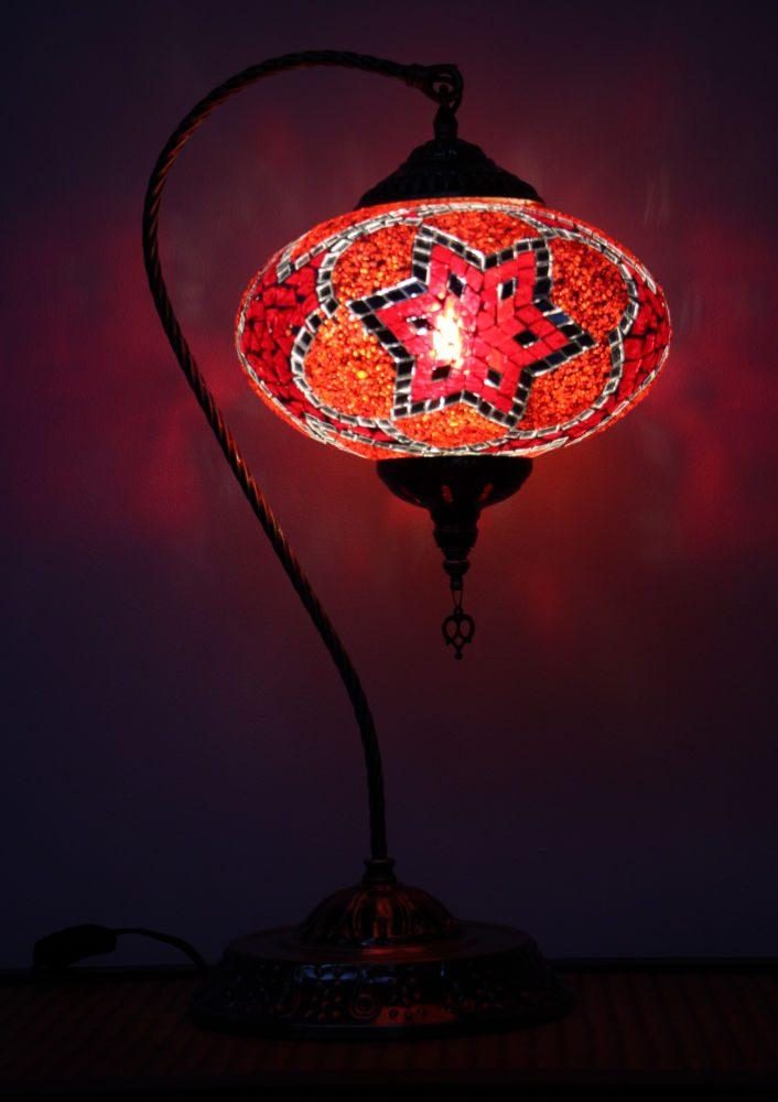 Turkish Mosaic Swan Table Lamp Large Red