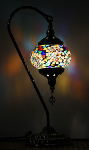 Turkish Mosaic Swan Table Lamp Mosaic Moon Orbit